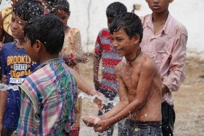 Children Celebrating New Well